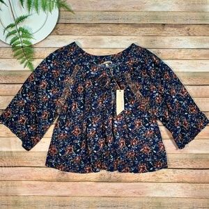 NWT Gimmicks BKE The Buckle Boho Floral Top Size L